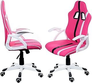 Poltrona ufficio similpelle,altezza regolabile girevole Bianco//Verde Sedi di gioco Larga Sedia ergonomica con braccioli e poggiapiedi Sedia Scrivania Gaming Chair Giosedio FBG027 Ergonomica