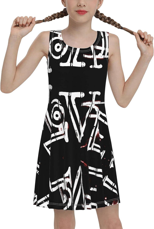 Love Sleeveless Dress for Girls Casual Printed Vest Skirt