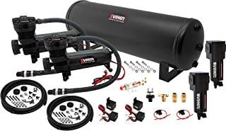 Vixen Air Suspension Kit for Truck/Car Bag/Air Ride/Spring. On Board System- Dual 200psi Compressor, 4 Gallon Tank. for Boat Lift,Towing,Lowering,Load Leveling,Bags,Onboard Train Horn VXO4841DBF