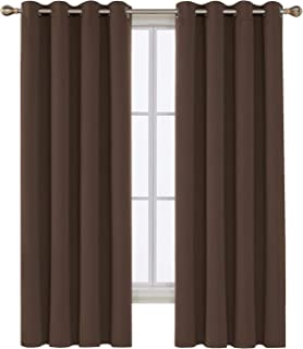 Deconovo Thermal Insulated Grommet Blackout Curtains Window Panels for Bedroom 52W x 72L Brown 2 Panels