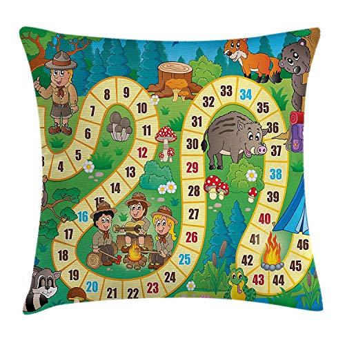 Bordspel gooien kussen kussensloop, Camping jongens en meisjes in de natuur bos dieren bomen paddestoelen madeliefjes leuk vreugde, decoratieve plein Accent kussensloop, 18 X 18 inch, Multi kleuren