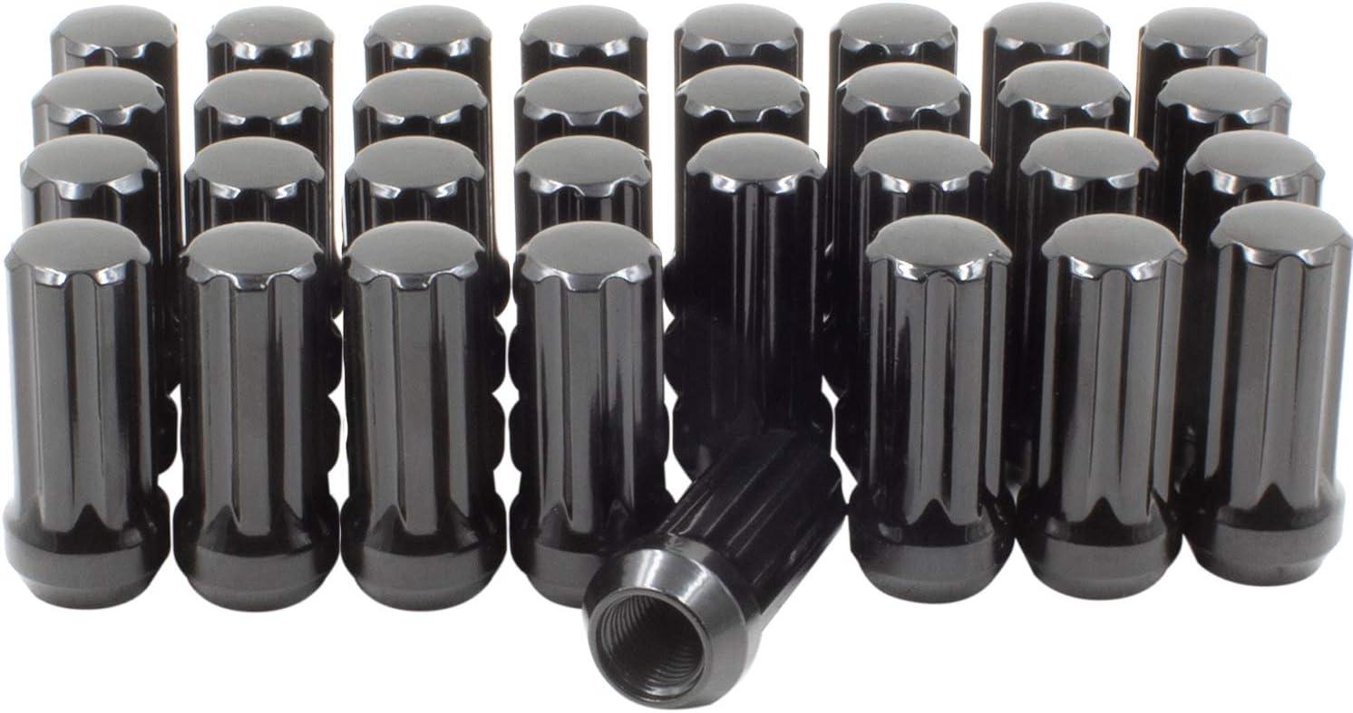 Wheel Accessories Parts Set of 32 9//16 Lug Nuts Chrome 1.90 Long for Truck Small Diameter Lug Nut Closed End Bulge Acorn 7 Spline with Key 9//16-18, Chrome