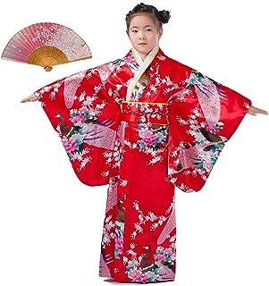 LOLANTA Vestido Kimonos asiáticos para niñas Vestido Superior para niños Vestido japonés Kimono y Abanico Plegable