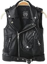 LUCKFACE 2016 Faux Leather Motorcycle Dress Casual Boys Joker Vest (Black)