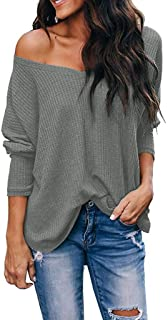 Makulas Womens V Neck Sweatshirts Pullover Plus Size Solid Color Long Sleeve Tunics Casual T-Shirt Loose Blouse Comfy Tops