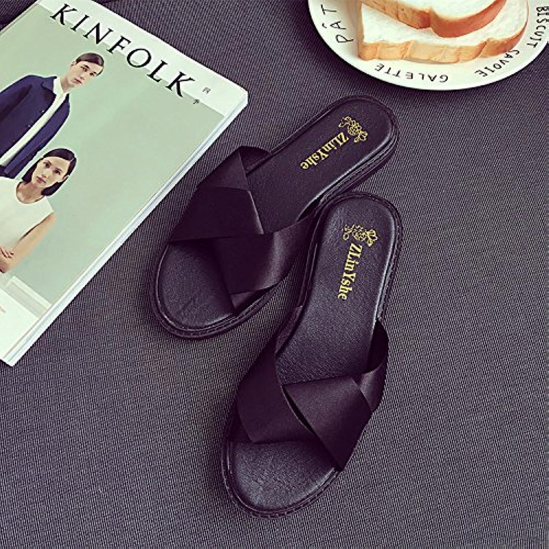 KAI-A female cross straps SATIN SANDALS female female slippers,black,Thirty-nine