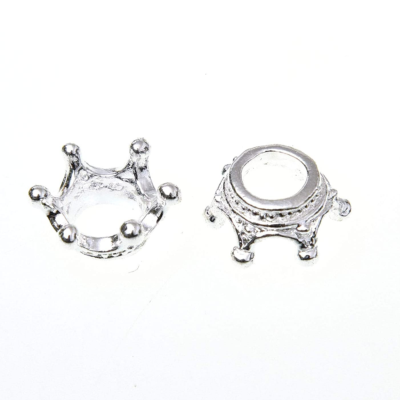 Monrocco 100Pcs Mini Lovely Alloy Crown Charms Pendants DIY Vintage Charms Findings Pendant for Jewelry Making Necklace Bracelet DIY,12 x 6mm