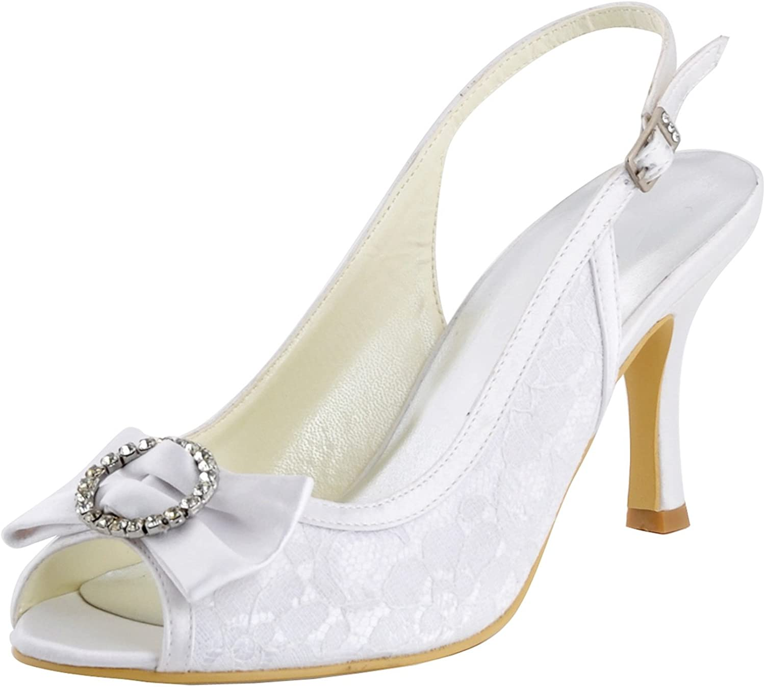 Minishion Girls Womens Slingback Bows Lace Bridal Wedding Sandals Formal Party shoes