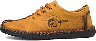 2018 Fashion Leather Shoes Men Full Handtailor Vintage Moccasins Non-Slip Plus Sizes 46