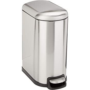 AmazonBasics Stainless Steel Rectangular Soft-Close Trash Can with Foot Petal for Narrow Spaces - 10L / 2.6 Gallon