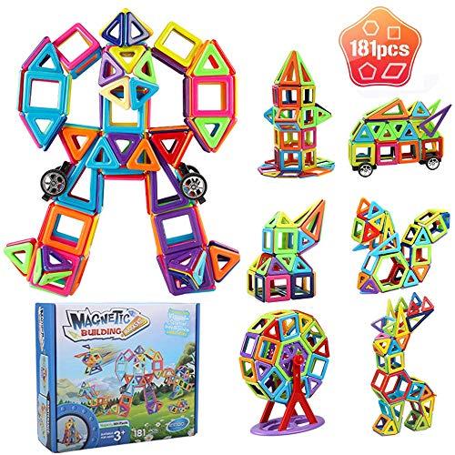 Innoo Tech Magnetic Building Blocks, 181Pcs Magnet Blocks Set, Magnet Tiles Construction Toys for Kid Toddlers, 3D Shape Building Block Set Creative Educational Gift for Boys and Girls