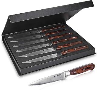 Navaris Lot 6X Couteau à Steak - Coffret Couteaux de Table à Dents avec Manche en Bois et Lame en INOX pour Viande - Boîte...