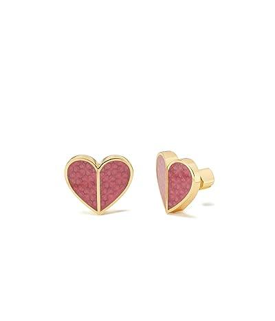 Kate Spade New York Heritage Spade Textured Heart Statement Studs Earrings (Pink) Earring
