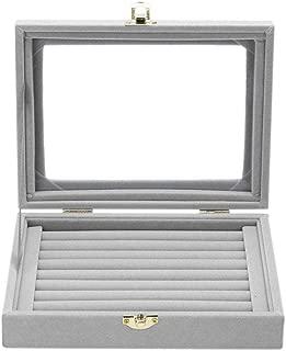 Velvet Glass Ring Display Box Jewelry Holder Storage Organizer Case (Ring Box Gray) (A-Grey)