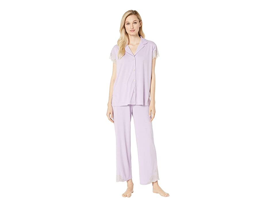 Natori Luxe Shangri-La Short Sleeve Notch PJ Set (Light Wisteria) Women