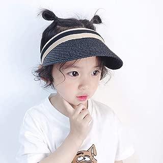 Asdfnfa Sun Hat, Child Straw Hat, Summer Sun Protection, Empty Top Hat (Color : Black)