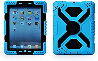 Duty Dual Protective Back Cover with Kickstand and Sticker for Ipad 5 / Ipad Air - Rainproof Sandproof Dust-proof Shockproof Pepkoo Brand (Blue/black)
