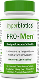 Hyperbiotics PRO-Men - Probiotics for Men with Curcumin Phytosome - Urinary and Prostate Support - 15x More Survivability Than Capsules - Non-GMO and Gluten Free Premium Vegan Probiotic Supplements