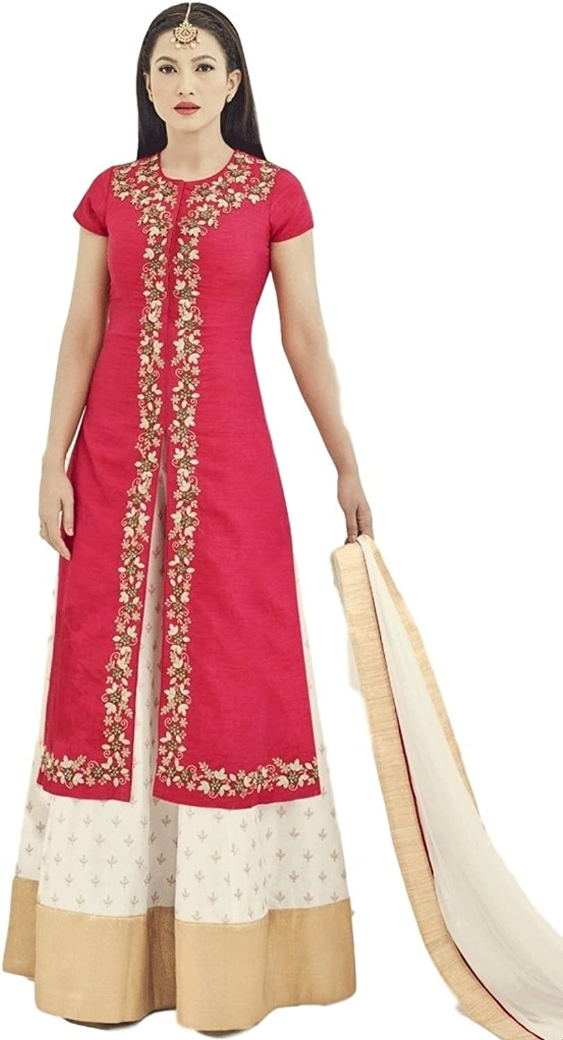EthnicWear Designer Pakistani Party Wedding Wear Two Tone Art Silk Pink Gauhar Khan Lehanga Suit
