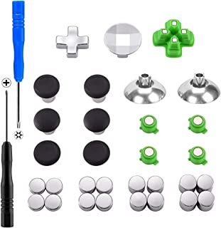 XFUNY PS4 Swap Thumbsticks All Mod Metal Button Replacement Parts Fits for PS4 /PS4 Slim/PS4 Pro Controller(31 pcs) (Black)