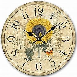 Eruner 12-inch Decorative Clock, Wooden [Sunflower] Cafe Bar Lancaster Paris Wall Clock Retro Styled Non-Ticking Home Decor (HQ5)