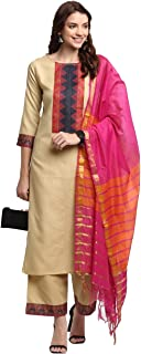 GoSriKi Women's Cotton Straight With Palazzo & Dupatta