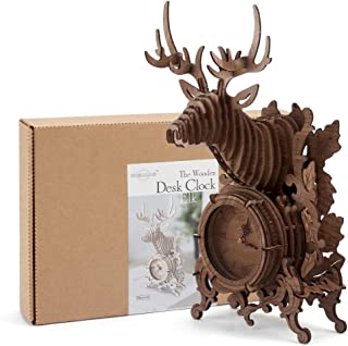 3D Wooden Puzzles Model Building Kit for Adults and Kids Christmas Reindeer Desk Clock Wall Mountable -52 Jigsaws