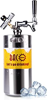 BACOENG 128 Ounce Pressurized Keg Growler, Kegerator for Home Brew Beer with Updated CO2 Regulator
