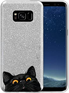 FINCIBO Case Compatible with Samsung Galaxy S8 G950 5.8 inch, Shiny Sparkling Silver Bling Glitter TPU Protector Cover Case for Galaxy S8 (NOT FIT S8+ Plus) - Black Bombay Kitten Cat