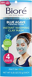 Bioré Blue Agave Instant Warming Clay Mask with Natural Baking Soda for Combination Skin 4 Count, Dermatologist Tested, Non Comedogenic, Vegan Friendly, Cruelty Free, Paraben Free