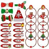 25 Pièces Accessoires de Cheveux de Noël pour Filles, Pinces à Cheveux Cravates à Cheveux Barrettes à Pression de Noel pour Enfants et Adultes