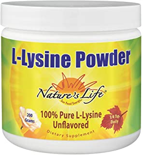 Nature's Life L-Lysine Powder | Helps Support Healthy Immune Function | 100% Pure Natural L-Lysine | Vegetarian, Unflavore...