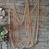 Red de pesca decorativa para pared, playa, fiesta, concha, pared, techo, decoración del hogar, red de pesca (beige)