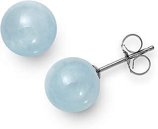 Sterling Silver Natural Milky Aquamarine Gemstone Round Blue Unisex Stud Earrings