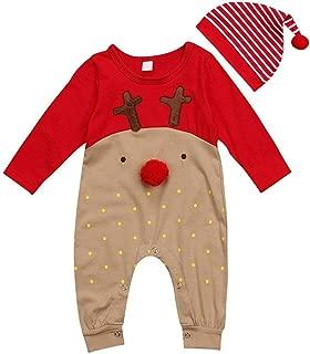 GRNSHTS Baby Girls Boys Christmas Bodysuit Red Nose Reindeer Pajama with Hat
