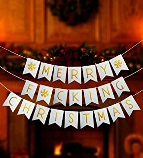Funny Merry Christmas Banner, Merry Fucking Christmas Bunting Banner, Funny Xmas Party Sign, Christmas Banner, Christmas Decoration