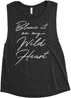 Blame it on My WILD HEART Women's Premium Flowy Scoop Muscle Tank, Stevie Nicks Fleetwood Sleeveless Rocker Tee Shirt, Vintage Boho Worn Graphics Festival Concert Shirt by BLUE DOVE