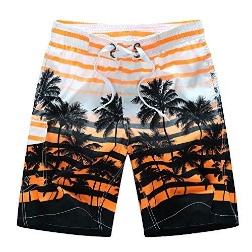 Moda hombres casuales impresos cortos Palm árbol patrón verano playa rápido secado cómodo surf Boardshorts respirables natación troncos elastizada Surf Bermudas con bolsillos Tamaño 4XL