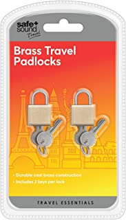 Safe & Sound Pair Of Travel Padlocks In Durable Each with Two Keys Luggage Lock, 17 cm, Brass