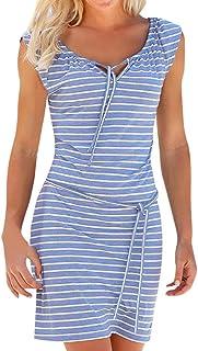 9ef6c9f851788 Trada Damenkleider, Mode Frauen Sommer Elgant V-Ausschnitt Ärmellos Boho  Streifen Lange Maxi Kleid