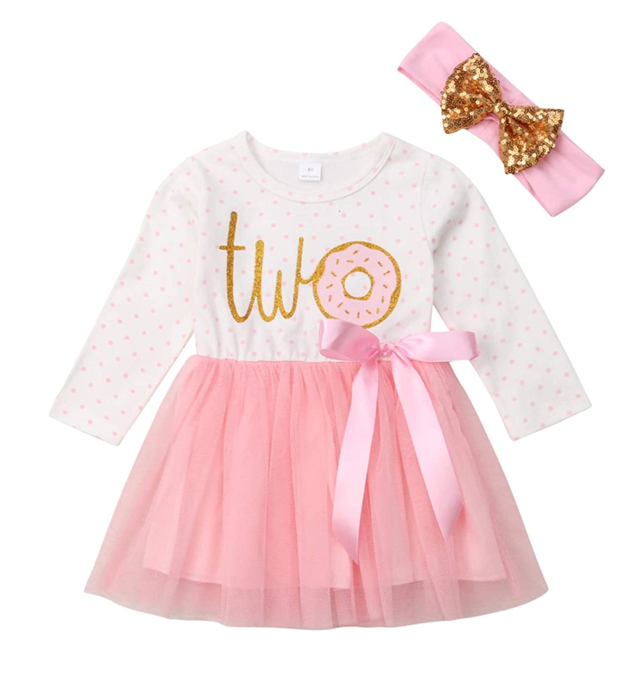 Baby Girl 2nd Birthday Outfit Tutu Dress Floral Long Sleeve Lace Skirt + Headband Clothes
