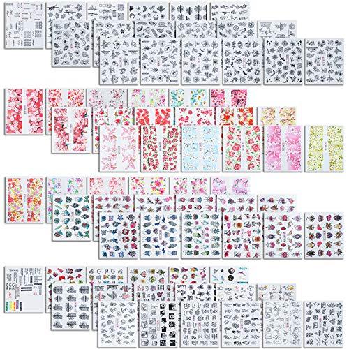 MWOOT Nailart Sticker, 72 Stück Nageldeko Nagelsticker, DIY Nagelkunst Nageltattooss, Blumen Schmetterlings Wasser Tattoos (Nicht-Sebstklebend), Wassertransfer Nagelfolien Nagelaufkleber, Nail Decals