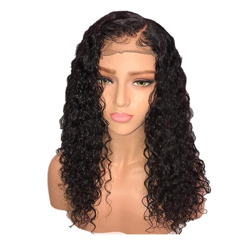速記ドループ正しくかつら女性150%密度ブラジルロングヘアウィッグナチュラルウェーブカーリーレースフロントかつらベビーヘア付き