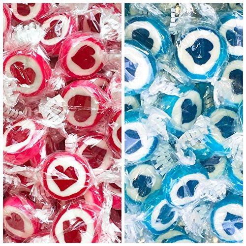 Herzbonbons zu Hochzeit Taufe Kommunion - handgewickelte Rocks-Bonbons mit Herz - Tischdeko Nascherei Gastgeschenk (blau/rot)