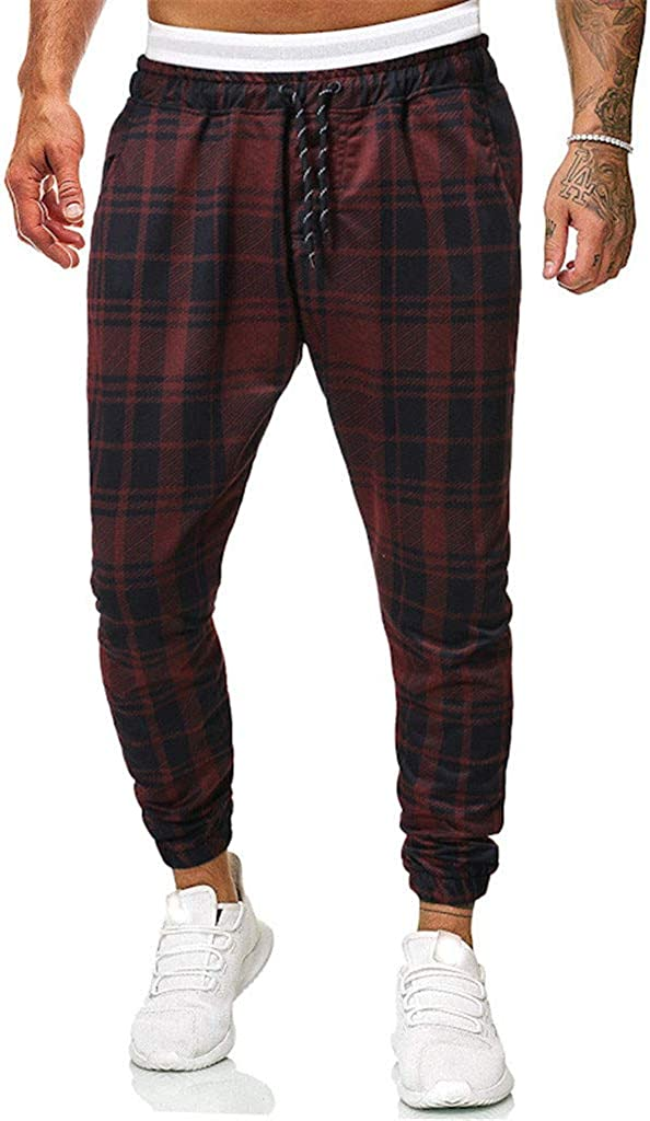 eipogp Mens Casual Long Pants Stretch Plaid Harem Trousers Slim Fit Track Pants Joggers Tapered Slacks for Gym Running Sport