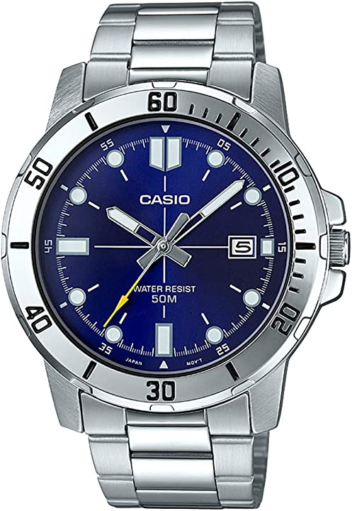Casio mtp-vd01d-2ev men`s enticer stainless steel blue dial casual analog sporty watch MTP-VD01D-2EVUDF (A1364)