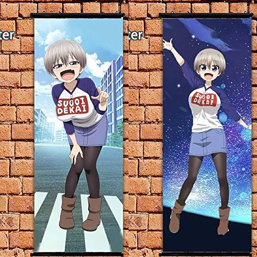 Henanyimeixiang Póster de Anime Uzaki-Chan Quiere Pasar el rato Sugoi Dekai Rollo de Pared 105x40cm Impresiones artísticas decoración de la habitación del hogar diseño 2 Piezas