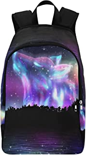 InterestPrint Galaxy Howling Wolf Casual Backpack College School Bag Travel Daypack