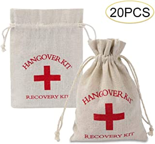 20 Pcs Red Cross Bachelorette Hangover Kit, Cooyeah Recovery Bag Survival Kit Bags Cotton Drawstring Muslin Bag for Wedding and Party, 5.5 x 3.9 inches