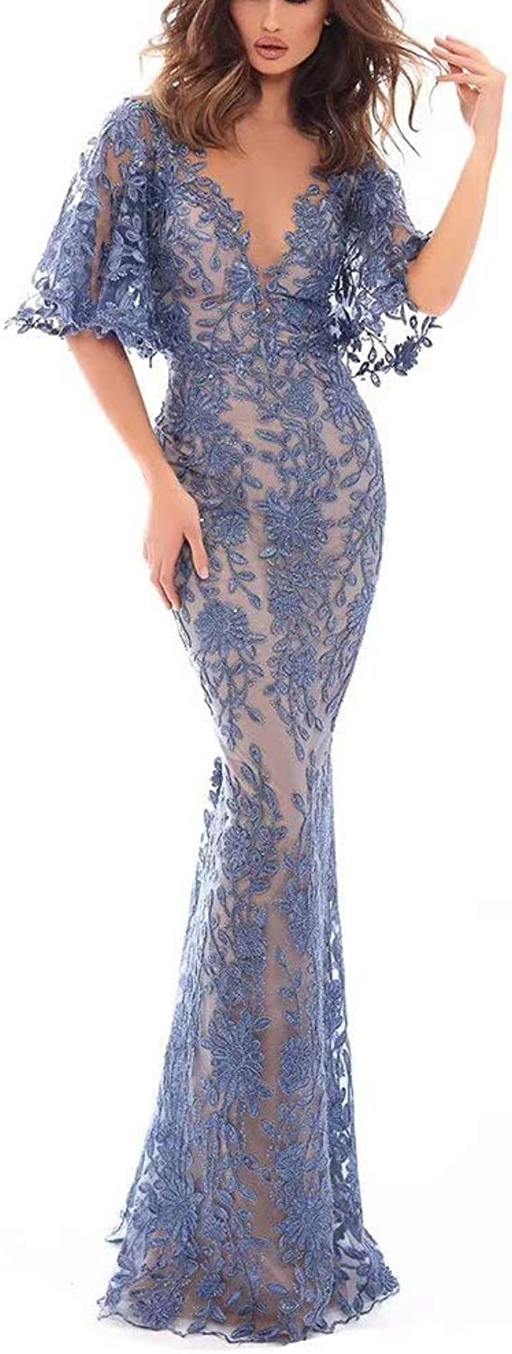 Unions Women Lace Applique Double V Neck Mermaid Prom Dress Flare Sleeve Long Formal Evening Gowns